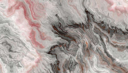 The tile of grey Onyx abstract texture with rose inclusions. Colorful background. 2D illustration. Natural beauty 免版税图像