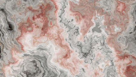 The tile of grey Onyx abstract texture with rose inclusions. Colorful background. 2D illustration. Natural beauty Banco de Imagens