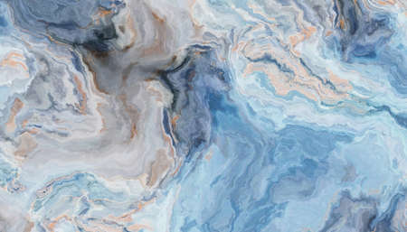 Blue marble pattern with curly grey and gold inclusions. Abstract texture and background. 2D illustration