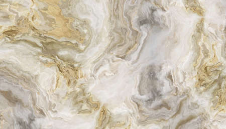 White marble pattern with curly grey and gold veins. Abstract texture and background. 2D illustration
