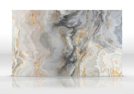 Golden marble tile standing on the white background with reflections and shadows. Texture for design. 2D illustration. Natural beauty