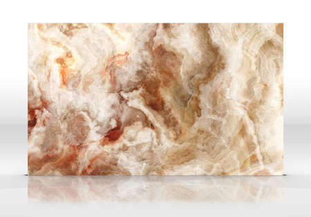 Yellow onyx tile standing on the white background with reflections and shadows. Texture for design. 2D illustration. Natural beauty 写真素材