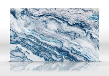 Blue marble tile standing on the white background with reflections and shadows. Texture for design. 2D illustration. Natural beauty