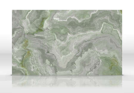 Green onyx marble tile standing on the white background with reflections and shadows. Texture for design. 2D illustration. Natural beauty 写真素材