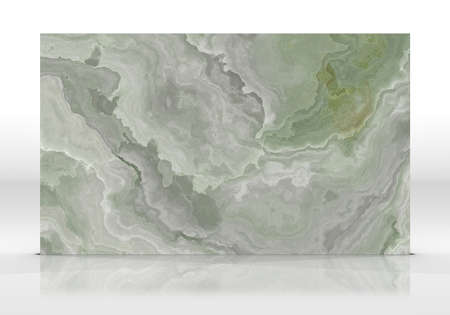 Green onyx marble tile standing on the white background with reflections and shadows. Texture for design. 2D illustration. Natural beauty Foto de archivo