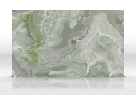 Green Onyx tile standing on the white background with reflections and shadows. Texture for design. 2D illustration. Natural beauty Banco de Imagens