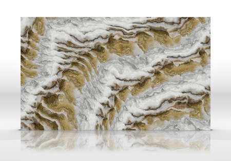 Onyx marble tile standing on the white background with reflections and shadows. Texture for design. 2D illustration. Natural beauty 写真素材