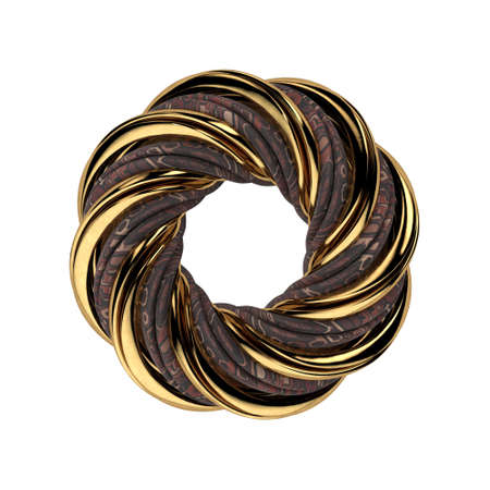 3D Mobius object, composed of gold and textile stripes, isolated on the white background. 3D rendering