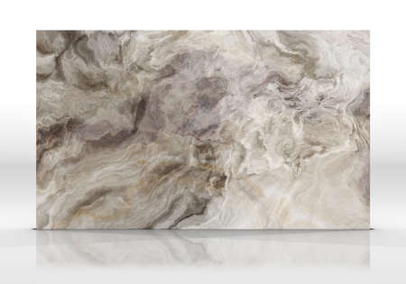 Onyx marble tile standing on the white background with reflections and shadows. Texture for design. 2D illustration. Natural beauty Stock Photo
