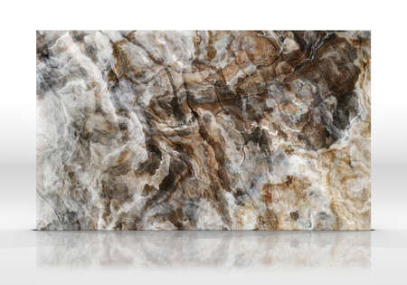 Onyx marble tile standing on the white background with reflections and shadows. Texture for design. 2D illustration. Natural beauty Imagens