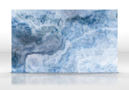 Onyx marble tile standing on the white background with reflections and shadows. Texture for design. 2D illustration. Natural beauty Archivio Fotografico