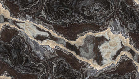 Black and White onyx pattern with curly grey and black veins. Abstract texture and background. 2D illustration Stockfoto