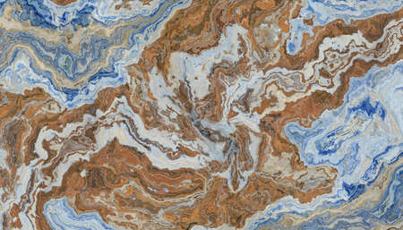 Blue and brown marble tile with white veins