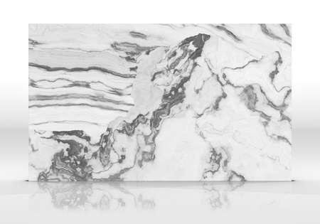 White marble tile standing on the white background with reflections and shadows. Texture for design. 2D illustration. Natural beauty