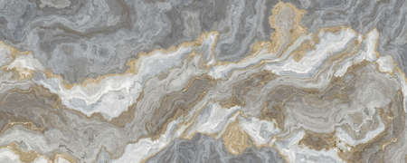 Gray-white marble pattern with golden veins. Abstract texture and background. 2D illustration 写真素材