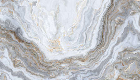 Gray-white marble pattern, whith golden inclusions. Abstract texture and background. 2D illustration 写真素材