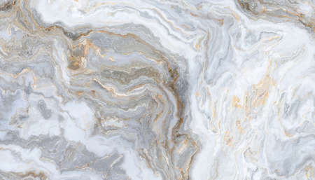 Gray-white marble pattern, whith golden inclusions. Abstract texture and background. 2D illustration