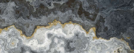 Gray-white marble pattern, separated by a golden vein. Abstract texture and background. 2D illustration