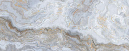 White marble pattern with curly grey and golden veins. Abstract texture and background. 2D illustration