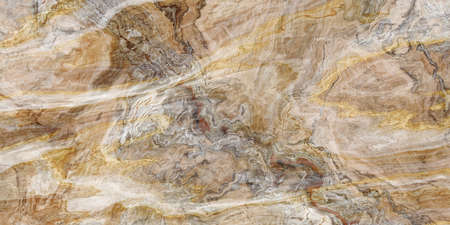 Wooden marble pattern with curly grey and gold veins. Abstract texture and background. 2D illustration