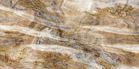 Wooden marble pattern with curly white and gold veins. Abstract texture and background. 2D illustration Imagens