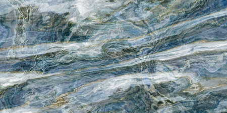 Blue marble pattern with white and gold veins. Abstract texture and background. 2D illustration