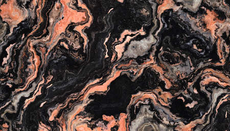 Black marble pattern with curly orange veins. Abstract texture and background. 2D illustration
