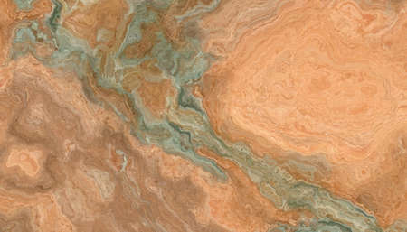 Multicolor onyx tile with green and orange weaves. Background texture for design. 2D illustration