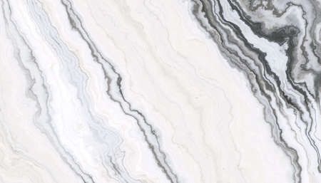 White marble pattern with curly grey and black veins. Abstract texture and background. 2D illustration