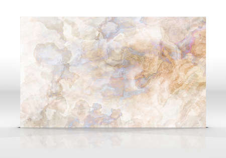 Multicolor marble tile standing on the white background with reflections and shadows. Texture for design. 3D illustration. Natural beauty Stock fotó