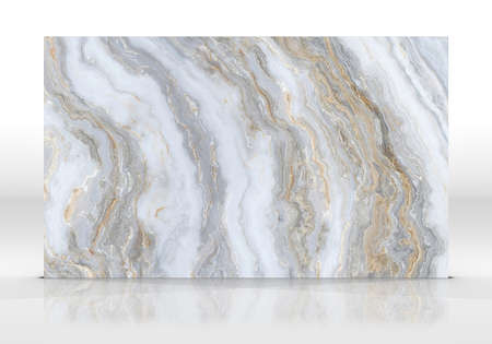 White marble tile standing on the white background with reflections and shadows. Texture for design. 3D illustration. Natural beauty