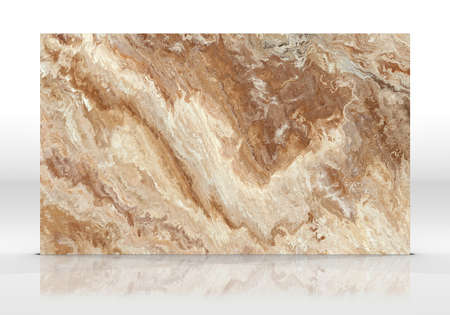 Beige marble tile standing on  white with reflections and shadows.
