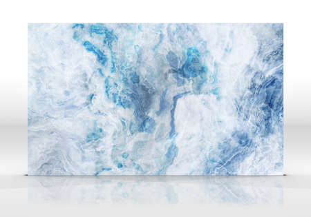 Blue marble tile standing on  white with reflections and shadows.