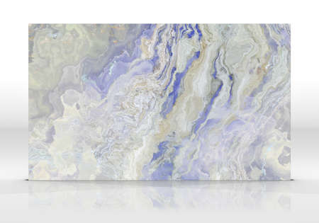 Multicolor marble tile standing on white with reflections and shadows