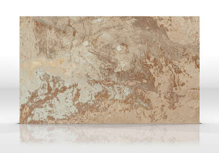 Coffee marble tile standing on the white background with reflections and shadows. Texture for design. 3D illustration. Natural beauty