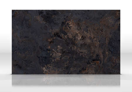 Black marble tile standing on the white background with reflections and shadows. Texture for design. 3D illustration. Natural beauty Archivio Fotografico