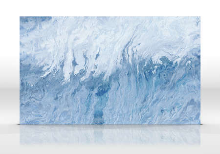 Blue marble tile standing on the white background with reflections and shadows. Texture for design. 3D illustration. Natural beauty