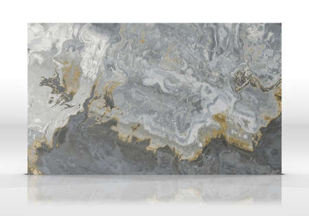 Multicolor marble tile standing on the white background with reflections and shadows. Texture for design. 3D illustration. Natural beauty