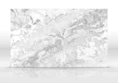 Grey marble tile standing on the white background with reflections and shadows. Texture for design. 3D illustration. Natural beauty