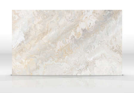 Beige marble tile standing on the white background with reflections and shadows. Texture for design. 3D illustration. Natural beauty