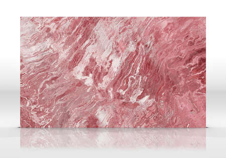 Rose marble tile standing on the white background with reflections and shadows. Texture for design. 3D illustration. Natural beauty Archivio Fotografico