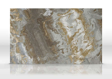 Multicolor marble tile standing on the white background with reflections and shadows. Texture for design. 2D illustration. Natural beauty Archivio Fotografico