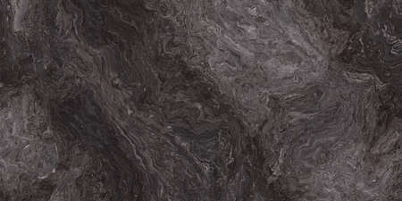 Marble pattern with curly grey and black veins. Abstract texture and background. 2D illustration