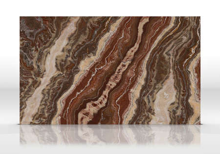 Red Onyx marble tile standing on the white background with reflections and shadows. Texture for design. 2D illustration. Natural beauty