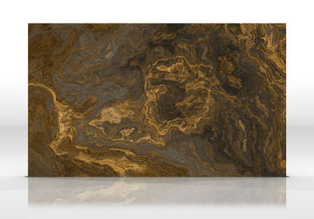 Gold marble tile standing on the white background with reflections and shadows. Texture for design. 2D illustration. Natural beauty Stock fotó