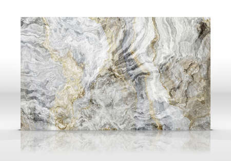 Grey Onyx marble tile standing on the white background with reflections and shadows. Texture for design. 2D illustration. Natural beauty