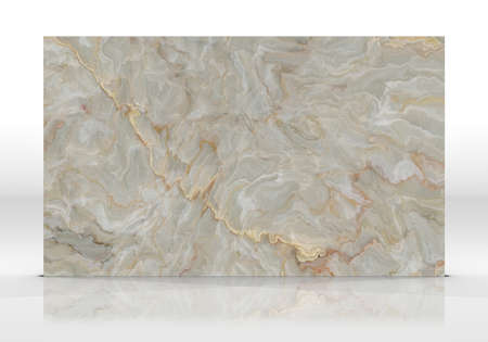Yellow Onyx marble tile standing on the white background with reflections and shadows. Texture for design. 2D illustration. Natural beauty Stock fotó