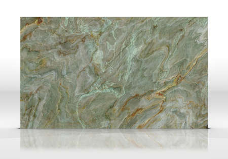 Green Onyx marble tile standing on the white background with reflections and shadows. Texture for design. 2D illustration. Natural beauty