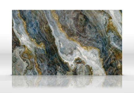 Multicolor Onyx marble tile standing on the white background with reflections and shadows. Texture for design. 2D illustration. Natural beauty