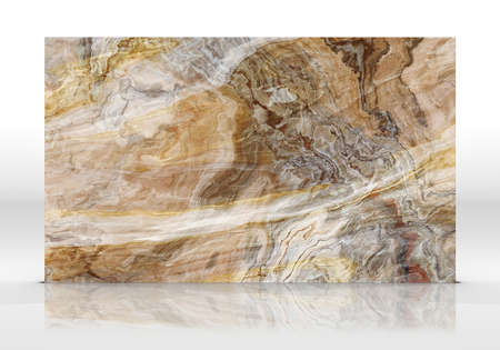 Yellow Onyx marble tile standing on the white background with reflections and shadows. Texture for design. 2D illustration. Natural beauty